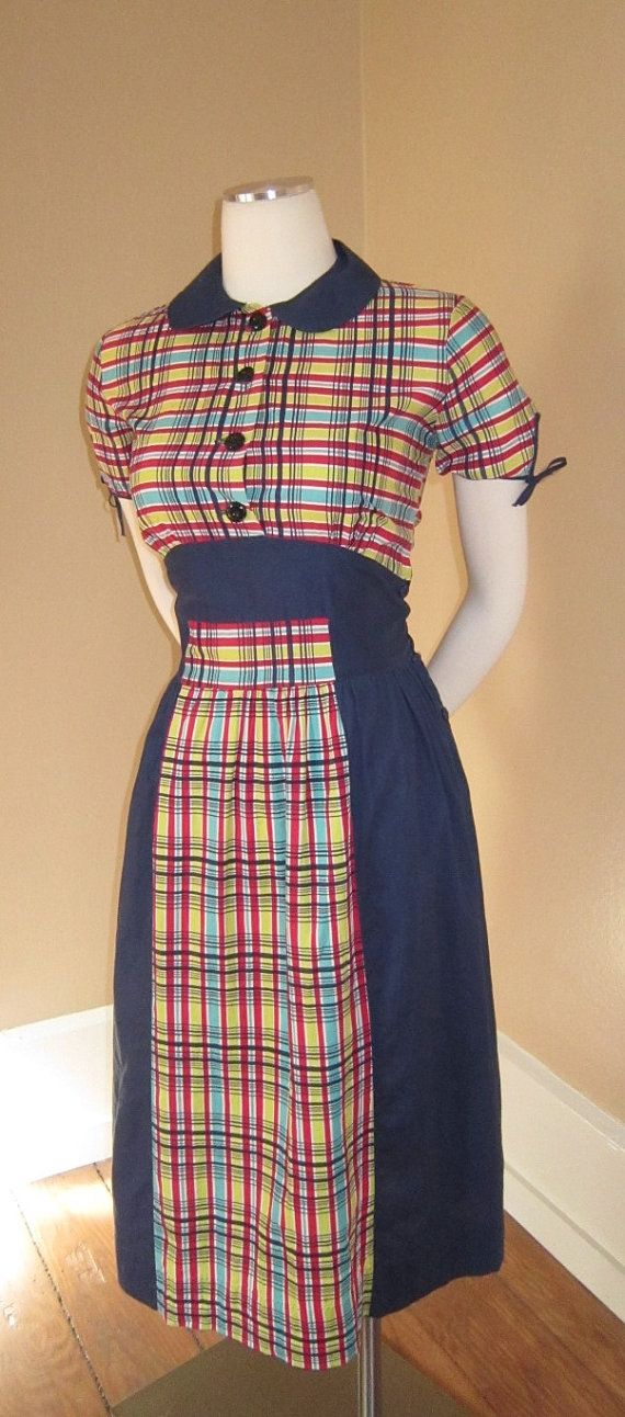 Vintage 1940s Color Block Swag Dress: 1940s COLORBLOCK Day Dress Vintage Novelty Colorful Plaid