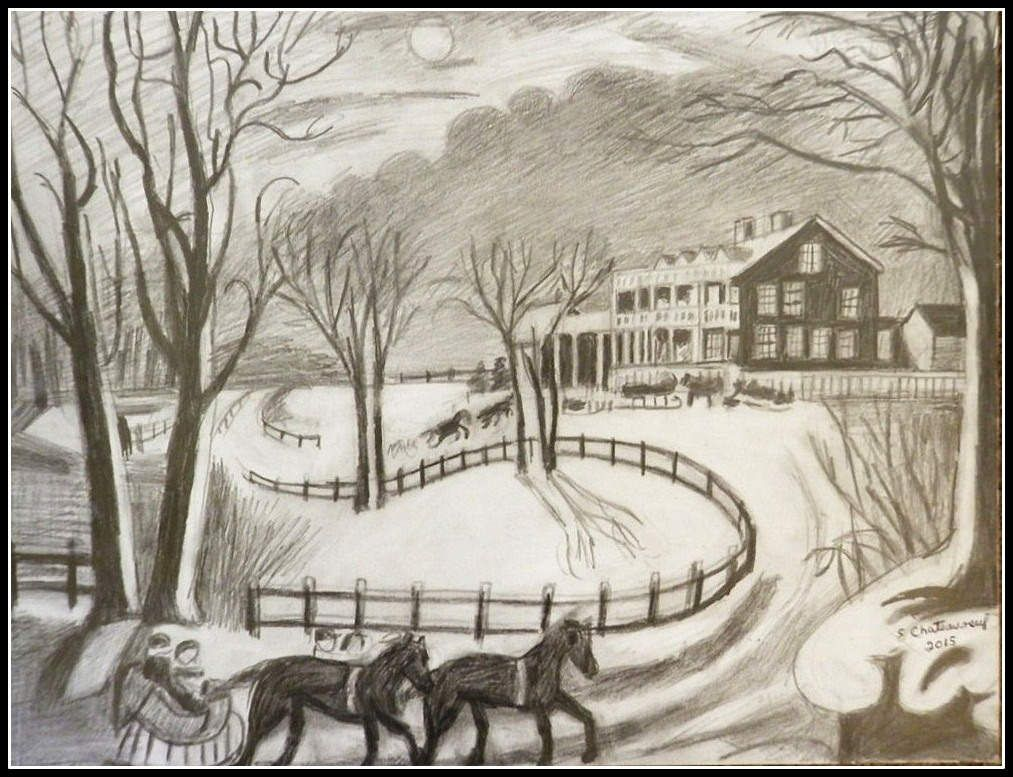 black white pencil drawing of currier ives winter scene at night