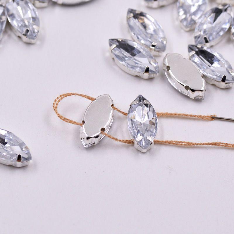3fa2ba59b 7*15mm Sewing Clear Crystal Silver Claw Rhinestones Sew On Acrylic Stones  Horse Eye Fancy Flatback Strass for Clothes Dresses