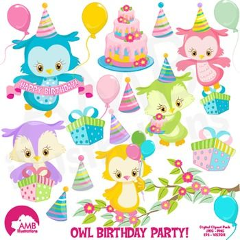 Birthday Clipart, Owl Clipart, Owls party Clip Art, AMB-1186