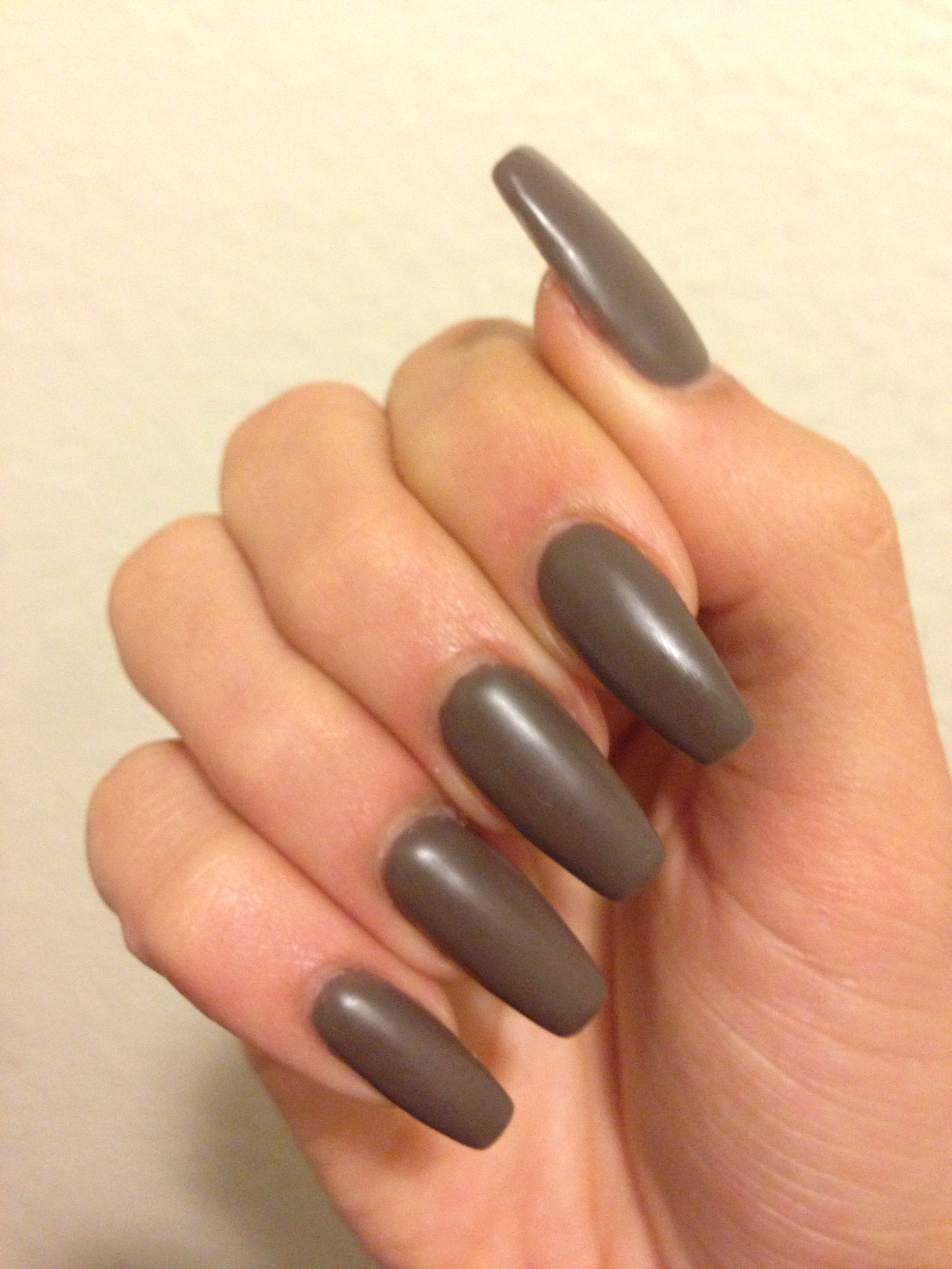 Dark brown/ gray matte nails | Nails | Pinterest | Grey matte nails ...