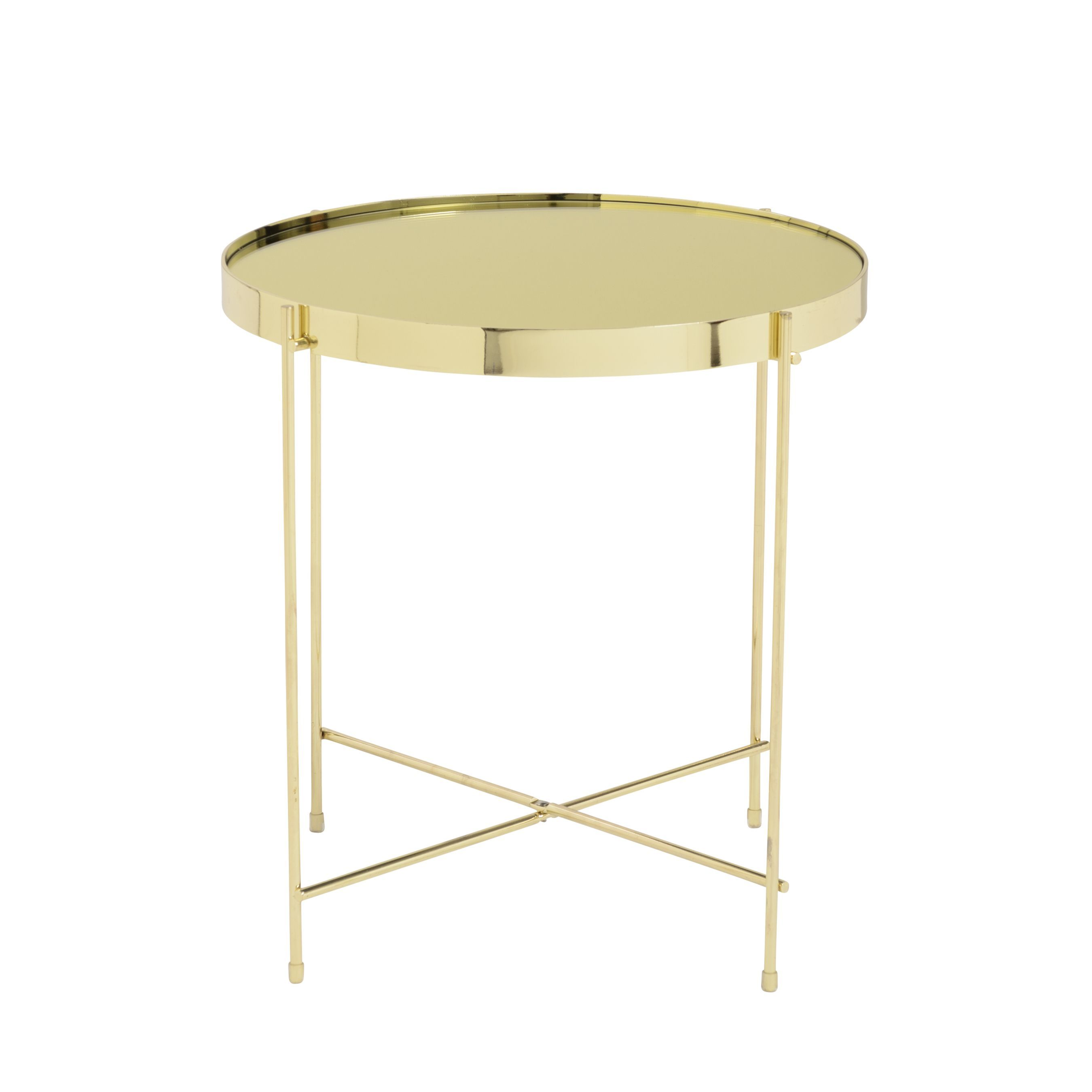 Euro Style Trinity High gloss Gold tone Base Glass Steel Round Side