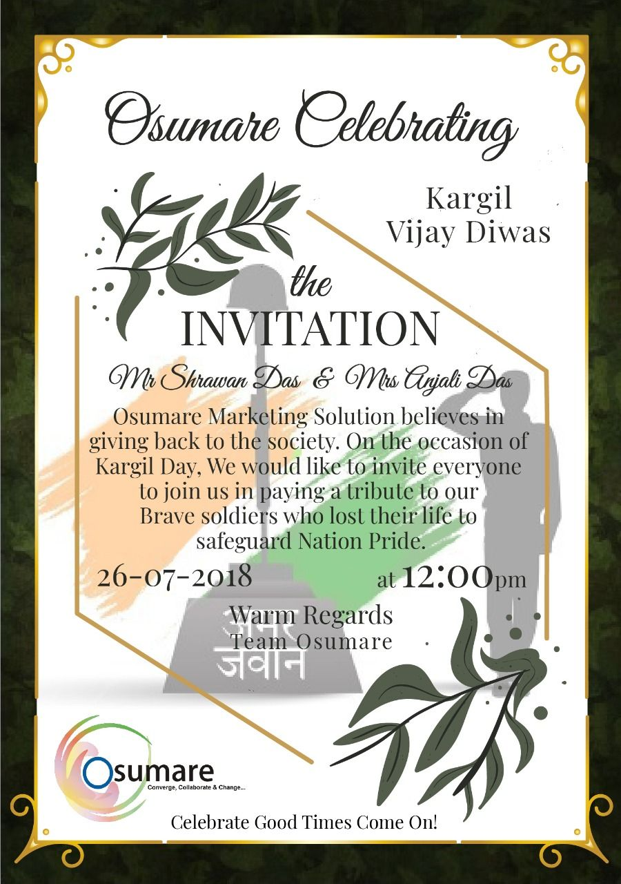 On The Occasion Of Kargil Vijay Diwas We At Osumare Wish To