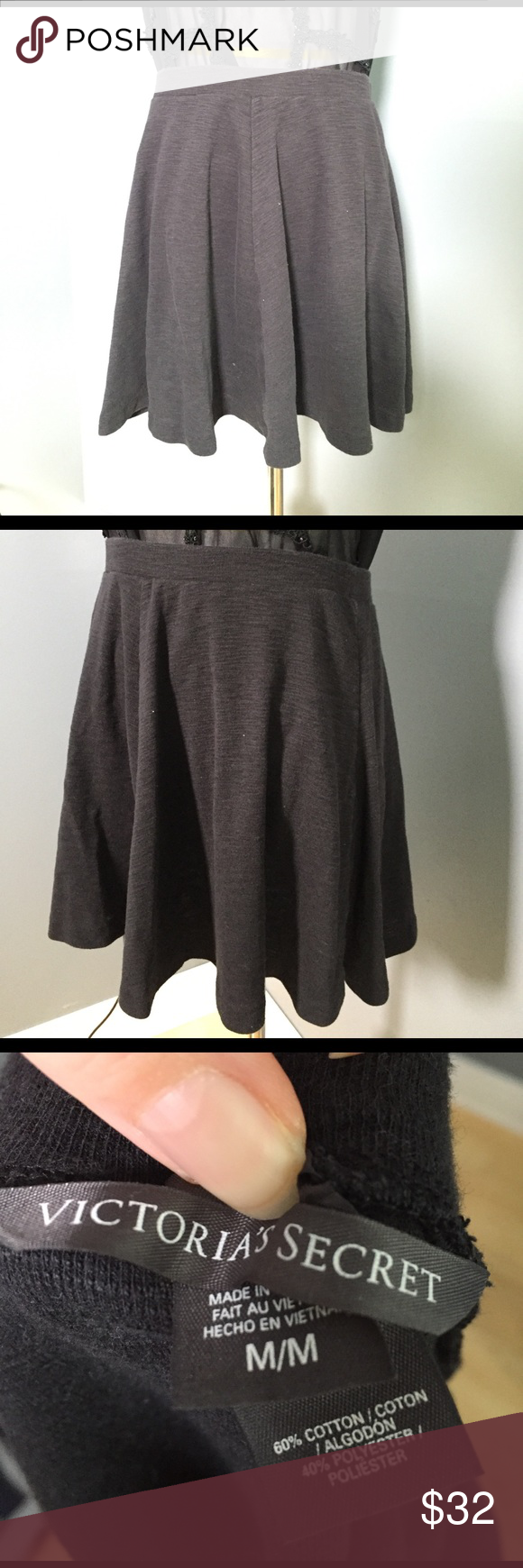 Victoria's Secret black skirt Black casual knit marled skirt. Victoria's Secret brand. 16 inches long. Victoria's Secret Skirts Circle & Skater