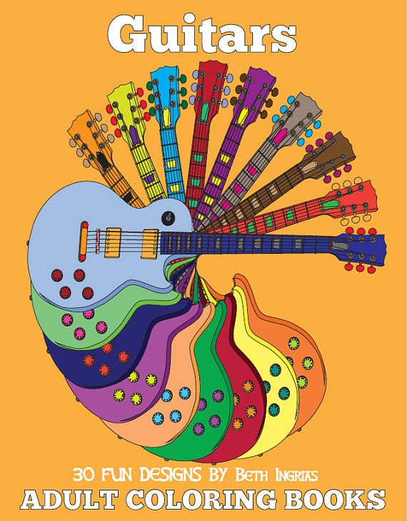 Adult Coloring Books: Guitar Edition DIGITAL DOWNLOAD 30 Designs Adult Colouring Book