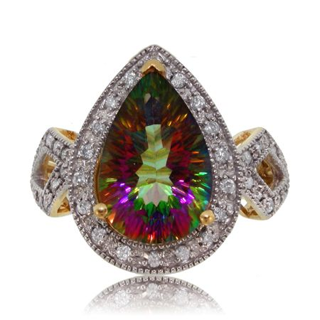 Radiant Cut Mystic Fire Topaz Diamond 14k Yellow Gold Ring 3