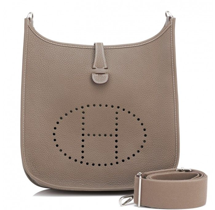 10ed7e81dd44 Hermes Etoupe Evelyne PM 29cm Taupe Messenger Shoulder Bag
