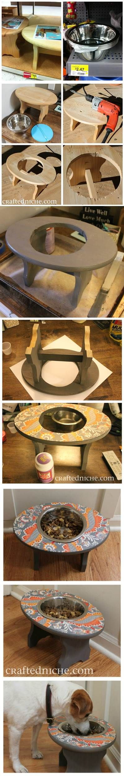 Incredible Diy Feeder Bowl Cut Into Wooden Step Stool Zeus Dog Andrewgaddart Wooden Chair Designs For Living Room Andrewgaddartcom