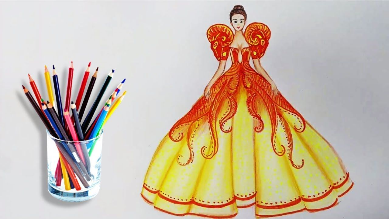 How To Draw Dress Fashion Step By Step Camstyles Dress Design Sketches Fashion Design Drawing Dress Drawing