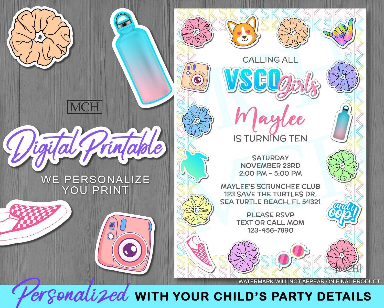 vsco girl invitation birthday party