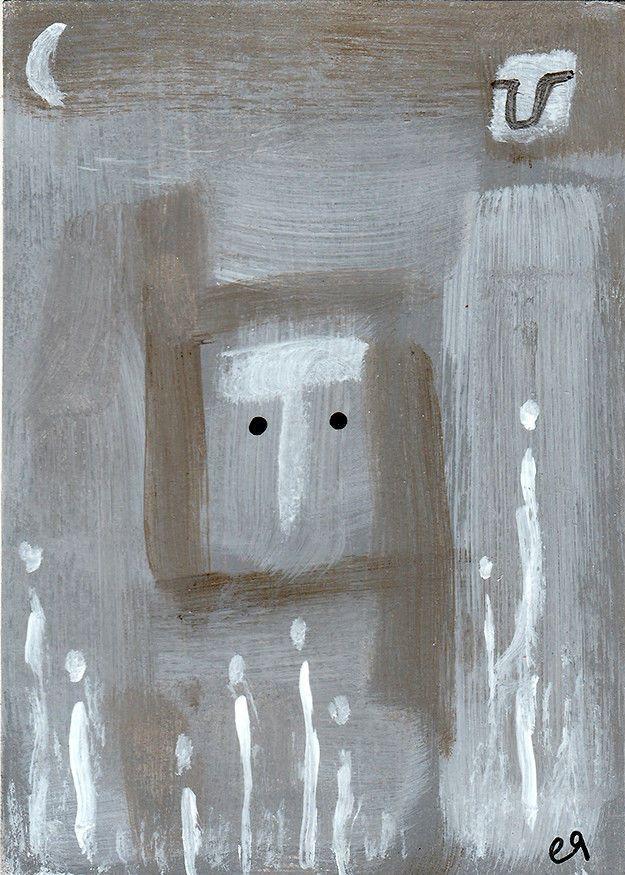 spirit garden (i) e9Art ACEO Outsider Folk Art Brut Painting Abstract Original OOAK
