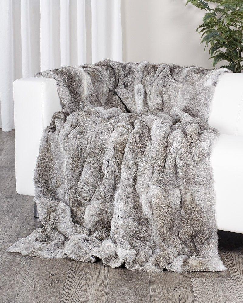 Chinchilla Grey Genuine Rabbit Fur Blanket Fur Throw Fursource Com Fur Blanket Fur Throw Blanket Fur Throw