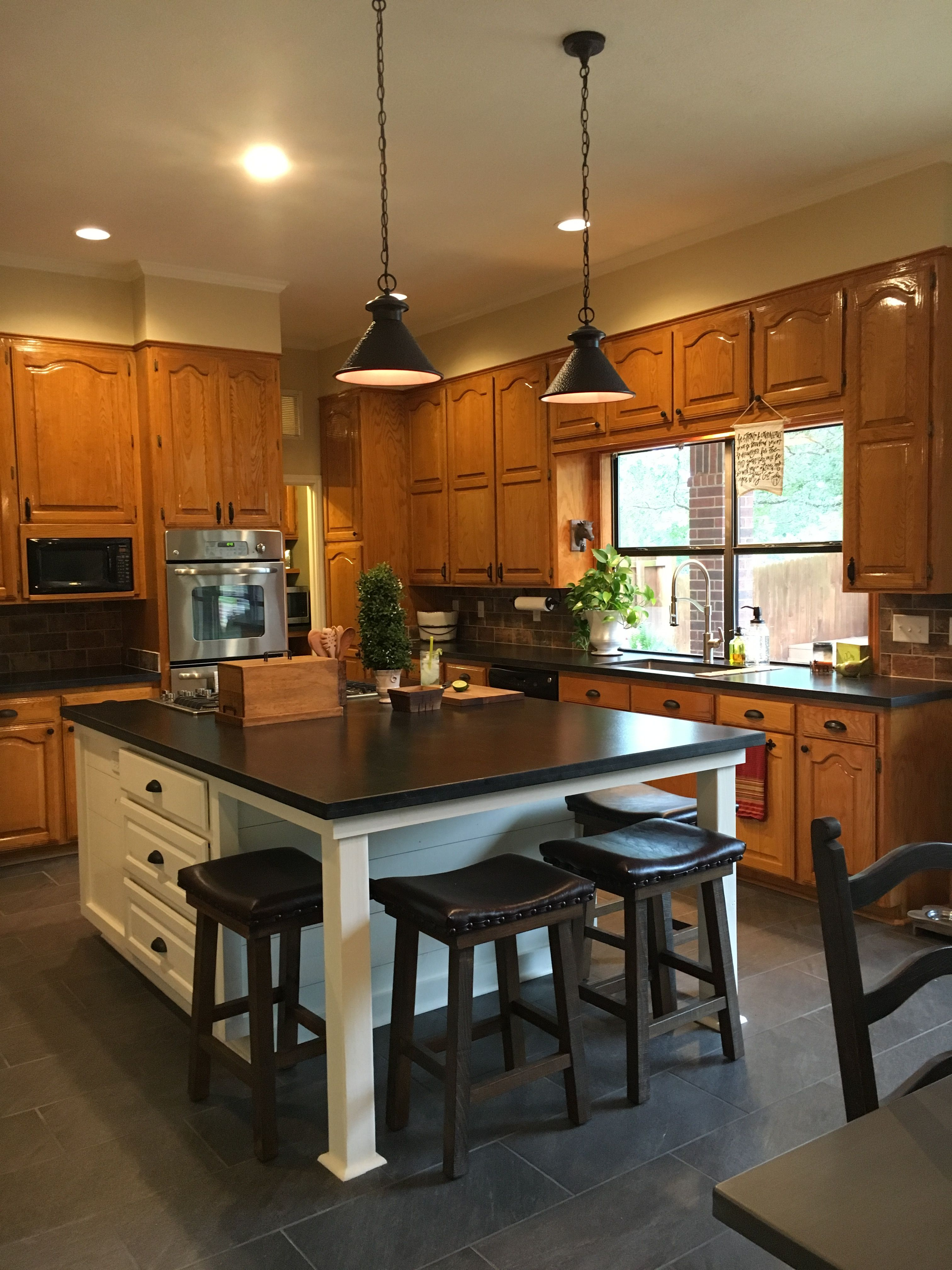 Updated Kitchens Best Kitchen Design Software With New White Island Original Honey Oak Cabinets And A Touch Of Shiplap Love Your Warm Tone