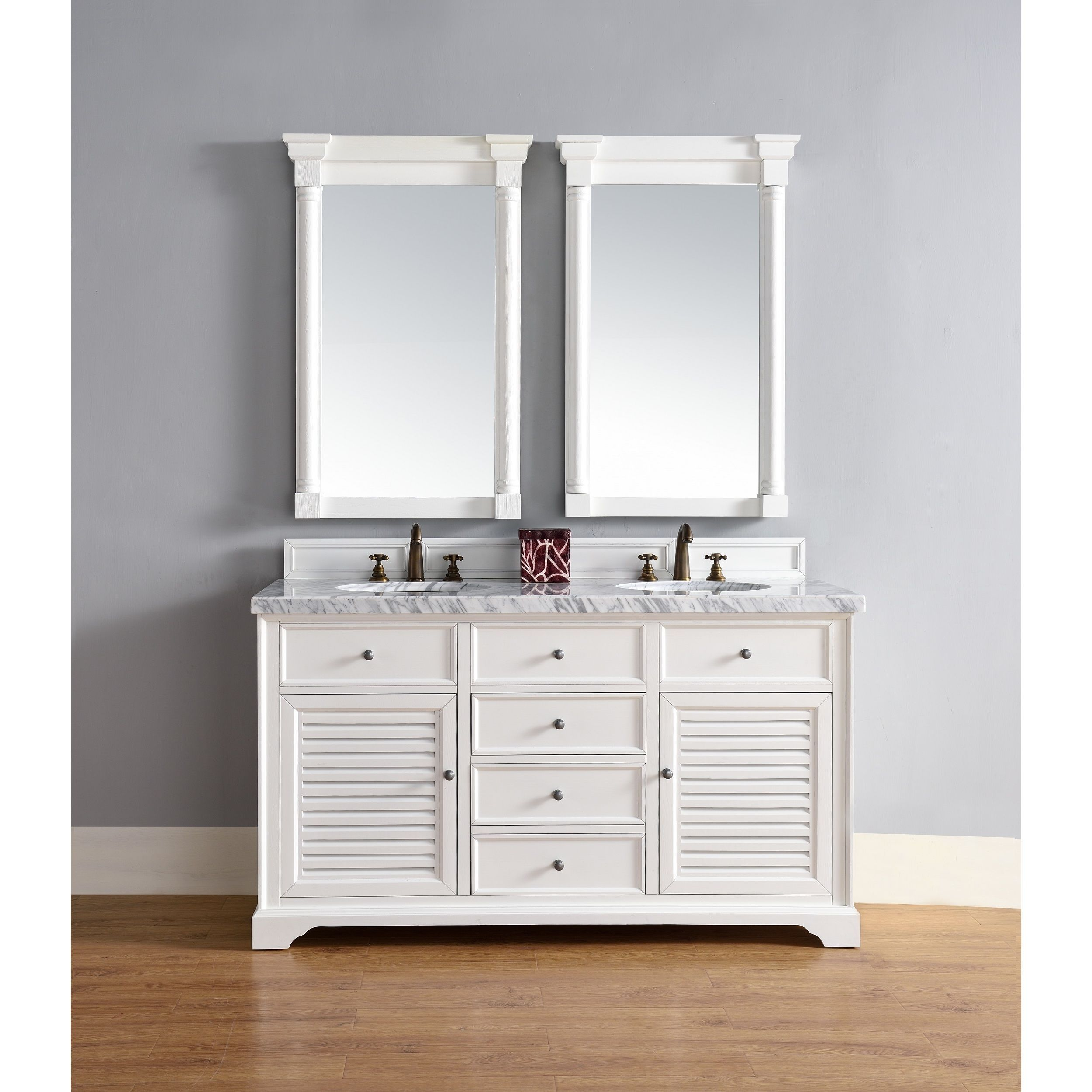 James Martin Furniture Savannah 60 Inch Double Vanity Cabinet, Cottage  White (Base   No Top), Size Double Vanities