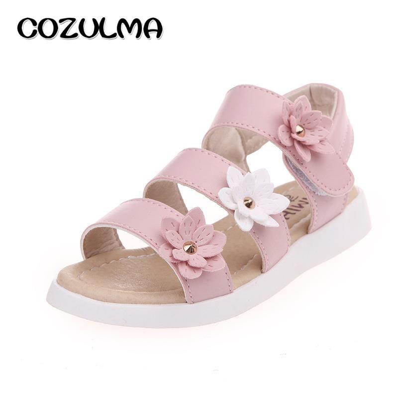 COZULMA Girls Sandals Summer Shoes Flowers Roman Gladiator