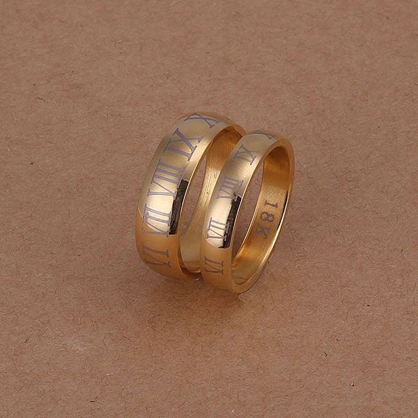 Couple Golden Roman Numbers Rings