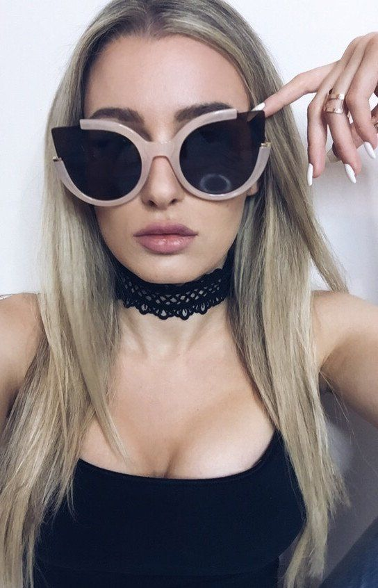 d9c9a84178 Topfoxx Nude Brown Cat Eye Sunglasses Cute Glasses