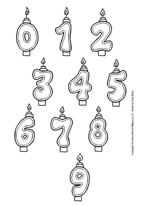 here are some fun birthday number candles to print and colour cut out the appropriate numbers and stick them on our birthday cake colouring page