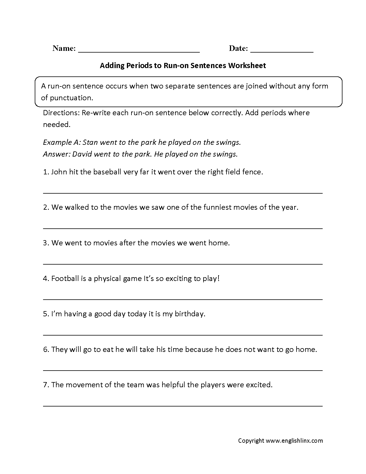 Adding Periods To Run On Sentences Worksheets
