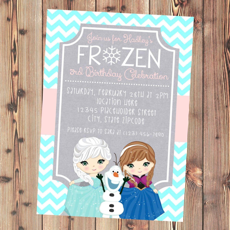 Frozen Invite - Frozen Birthday Invitation - Elsa Anna Olaf - DIY ...