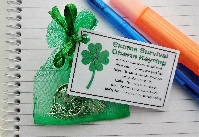 Exams survival charm keyring handmade good luck gift for