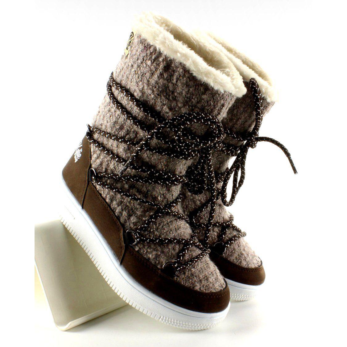 Sniegowce Dla Dzieci Butymodne Brazowe Dzieciece Sniegowce Eskimoski K1646102 Boots Kid Shoes Taupe