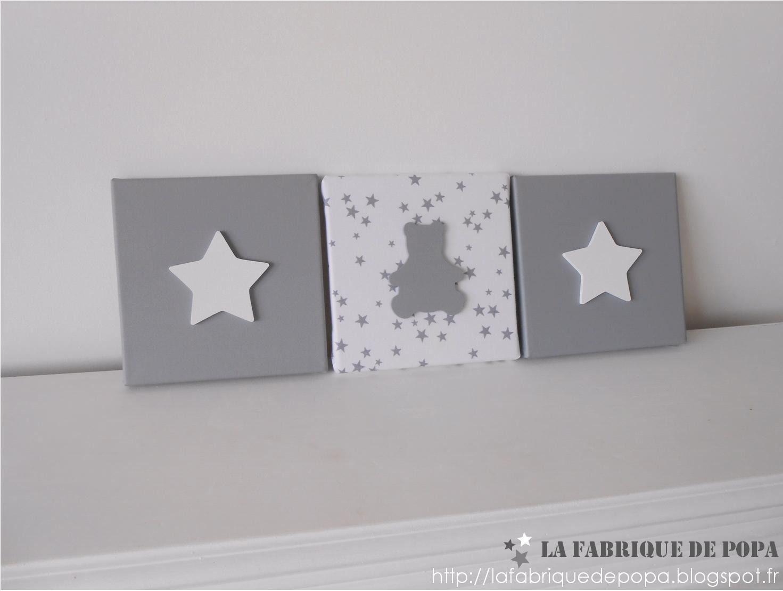 Triptyque 19x19 Ourson et Etoiles gris blanc décoration chambre