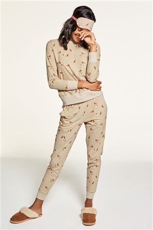 381090592f Buy Neutral Fox Print Cosy Pyjamas from the Next UK online shop ...