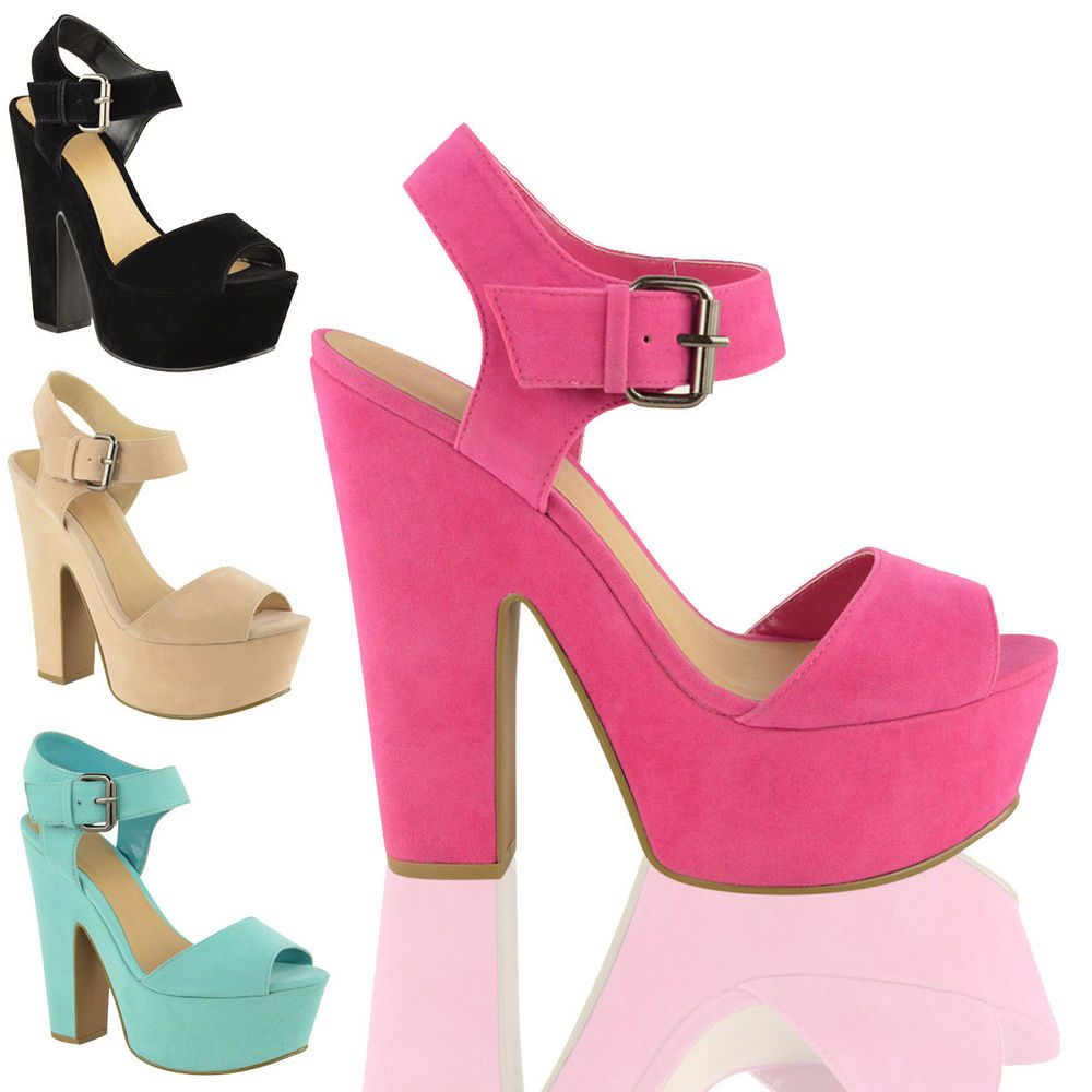 Women High Heel Platform Sandals Chunky Block Wedge Buckle Shoes #BuffShoes #StrappyAnkleStraps #EveningSmartPartyPromWeddingClubFormal