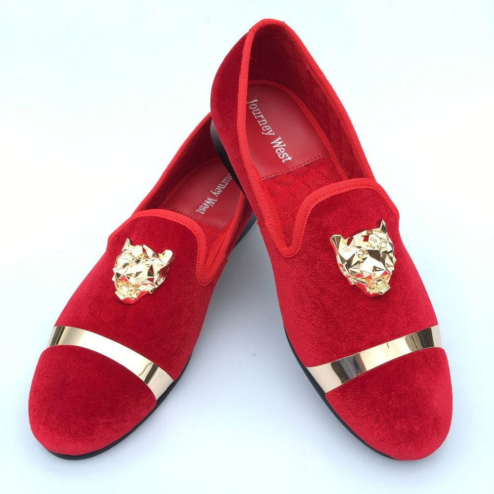 b89d9af37d3 New Fashion Men Red Velvet Loafers Slippers Buckle Men Velvet Shoes with  Gold Accents Prom and Party Loafers Slip on Men s Flats