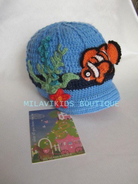 Crochet Boys Clownfish hat Crochet Baby nemo hat Crochet Newsboy hat ...