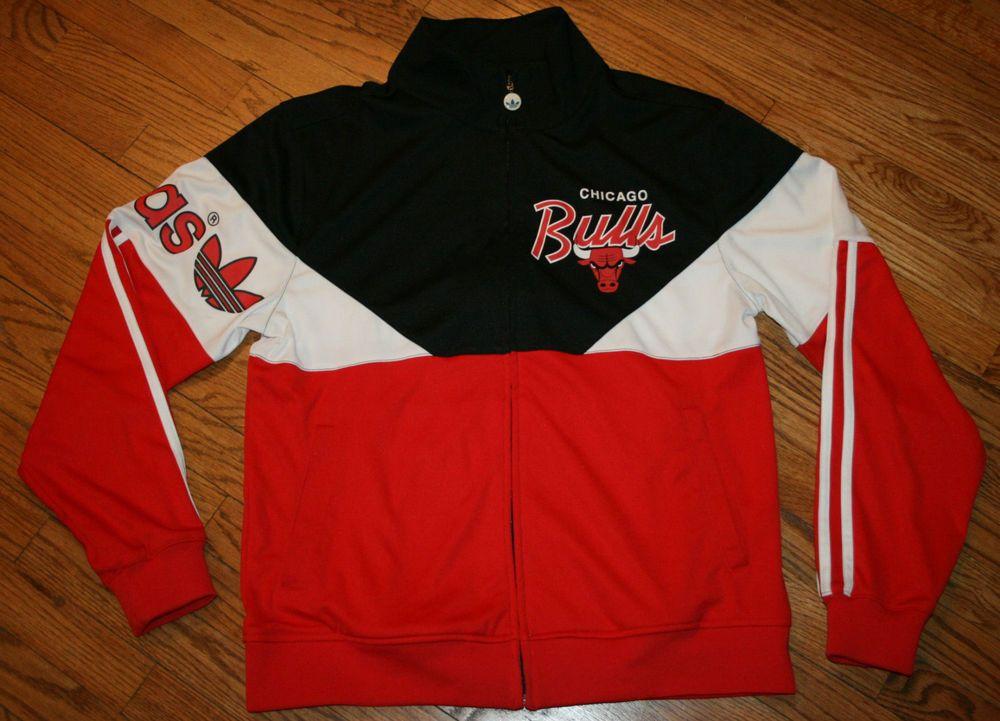 Chicago Bulls Adidas Track zip Jacket Mens Medium basketball