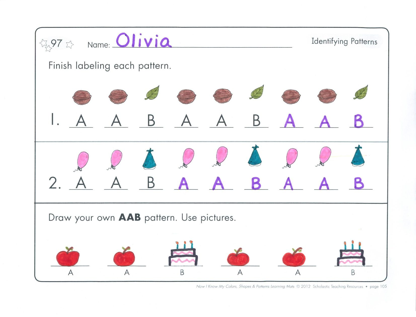 Children Draw Pictures Or Shapes And Write Uppercase Letters To Complete These Aab Patterns L K 1 A L Aab Patterns Pattern Worksheet Kindergarten Worksheets [ 1263 x 1653 Pixel ]