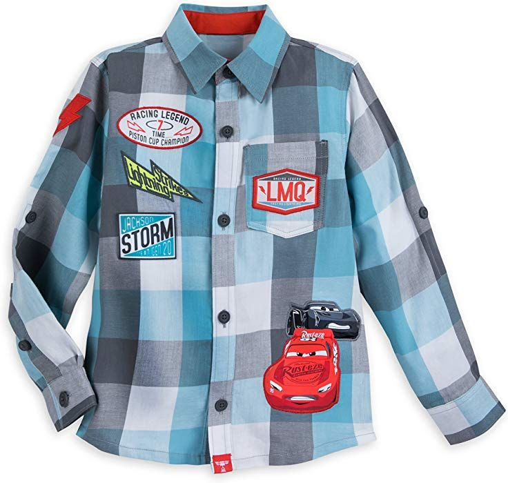 Amazon.com  Disney Lightning McQueen and Jackson Storm Button Shirt for  Boys Size 3 6b66fada2