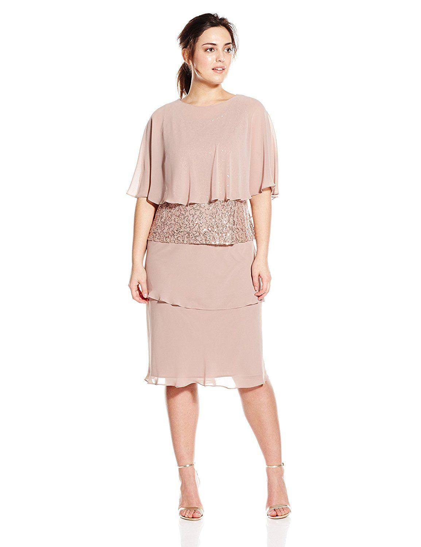 s.l. fashions women's plus-size capelet sequin dress >>> to view