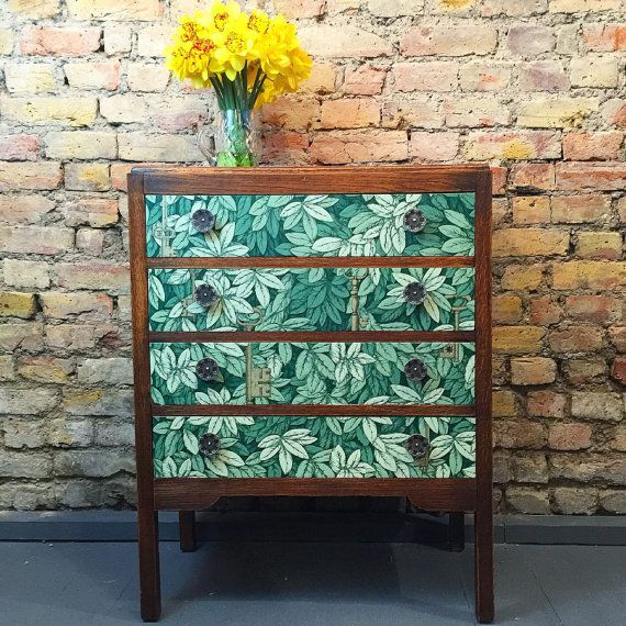 Upcycled vintage retro solid wood chest of drawers in Fornasetti