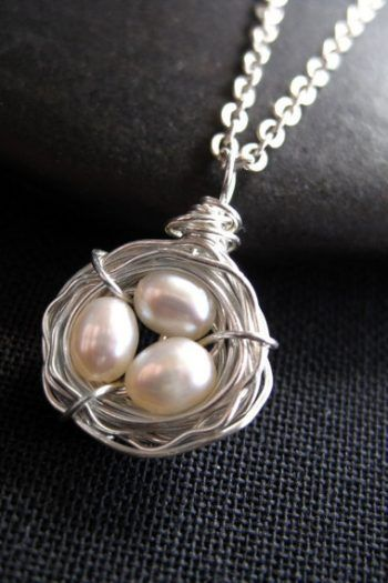 For Sale: Bird Nest Necklace Pearl Necklace Mothers Day Gift...