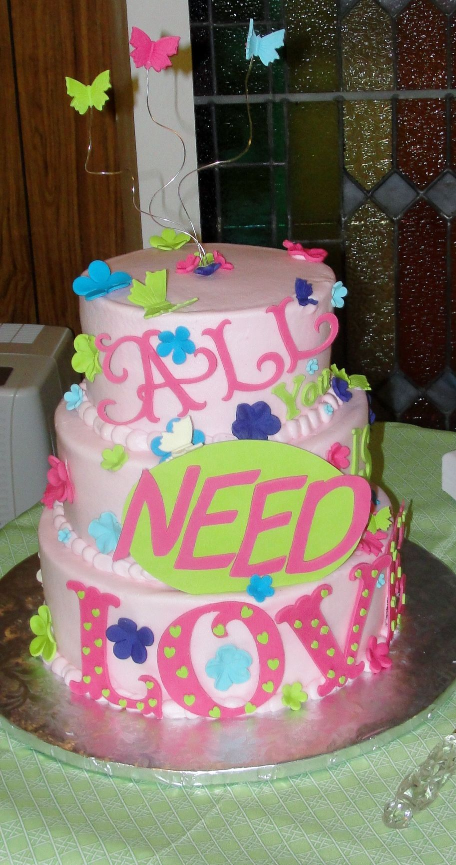 Non Traditional Cake Words Say All You Need Is Love Wedding