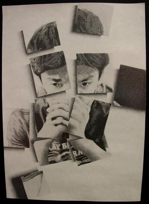Fragmented self portrait. I want to do something similar, but the person be fragmented and put back together with some of their inner self showing through. Very symbolic.