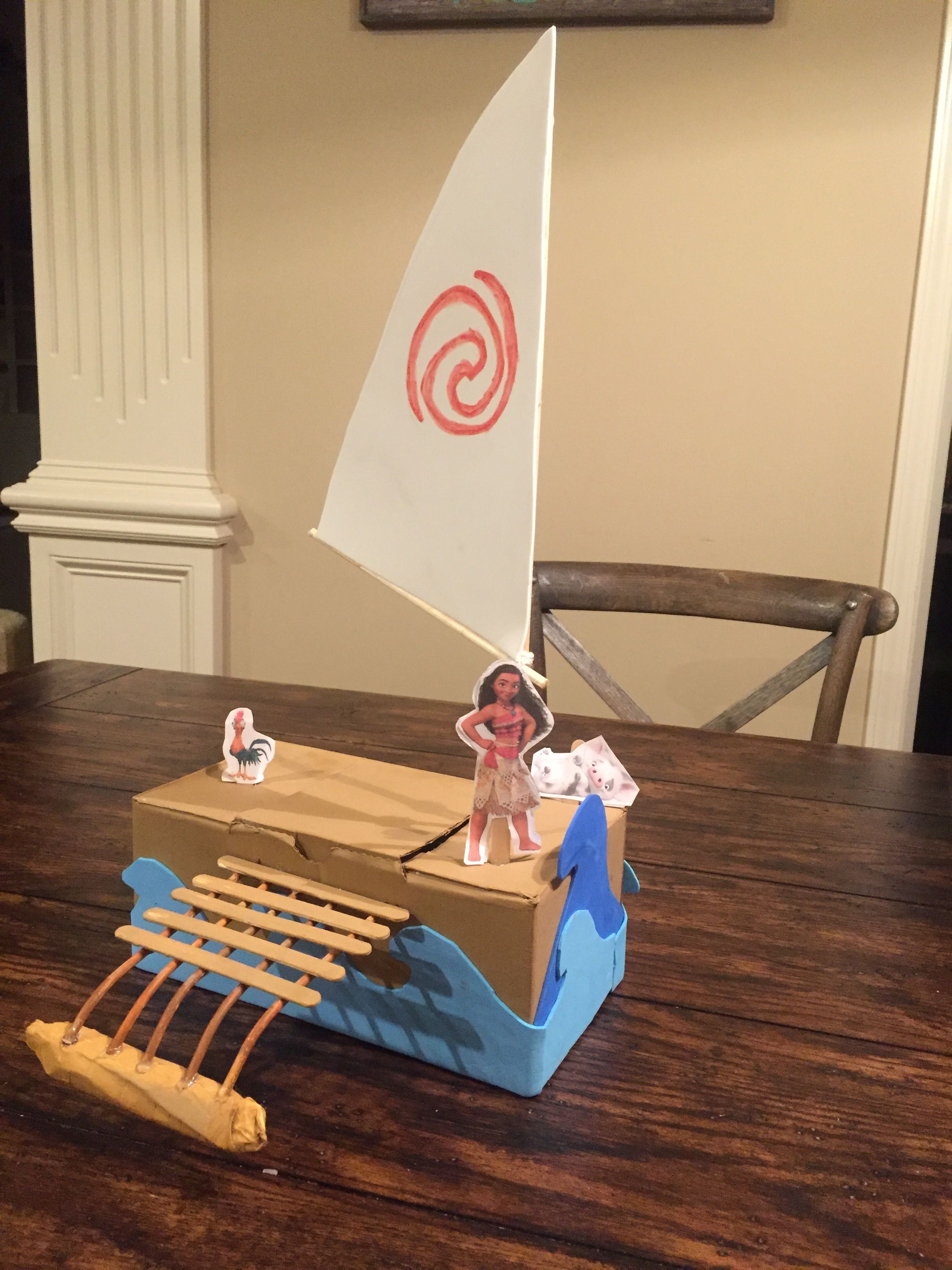 Moana 39 s boat valentine 39 s box diy pinterest boating for Boat mailbox