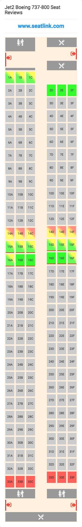 Jet2 Boeing 737 800 738 Seat Map
