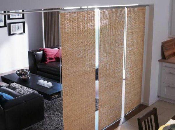 trennwände wohnzimmer und esszimmer trennen rattan schiebegardinen - esszimmer im wohnzimmer