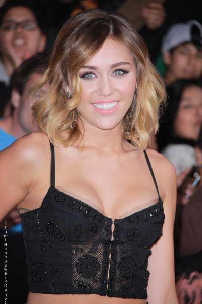Miley Cyrus New Medium Length Ombre Hairstyles Short Haircut