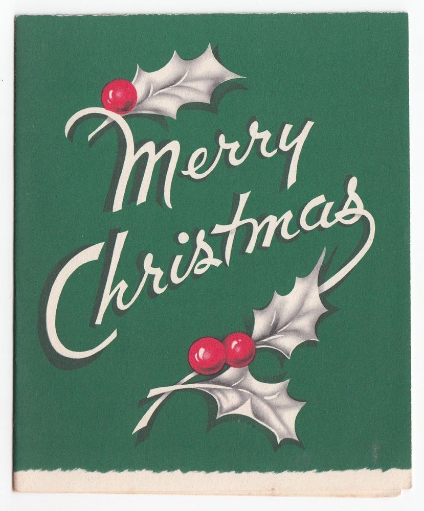 Vintage Greeting Card Merry Christmas Typography Holly