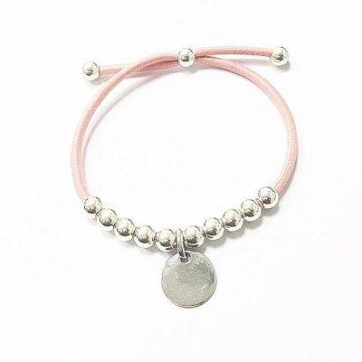 f7a96523f159 Pulsera de goma elástica rosa con chapa y bolitas de plata de 1ªLey Indicar  el grabado