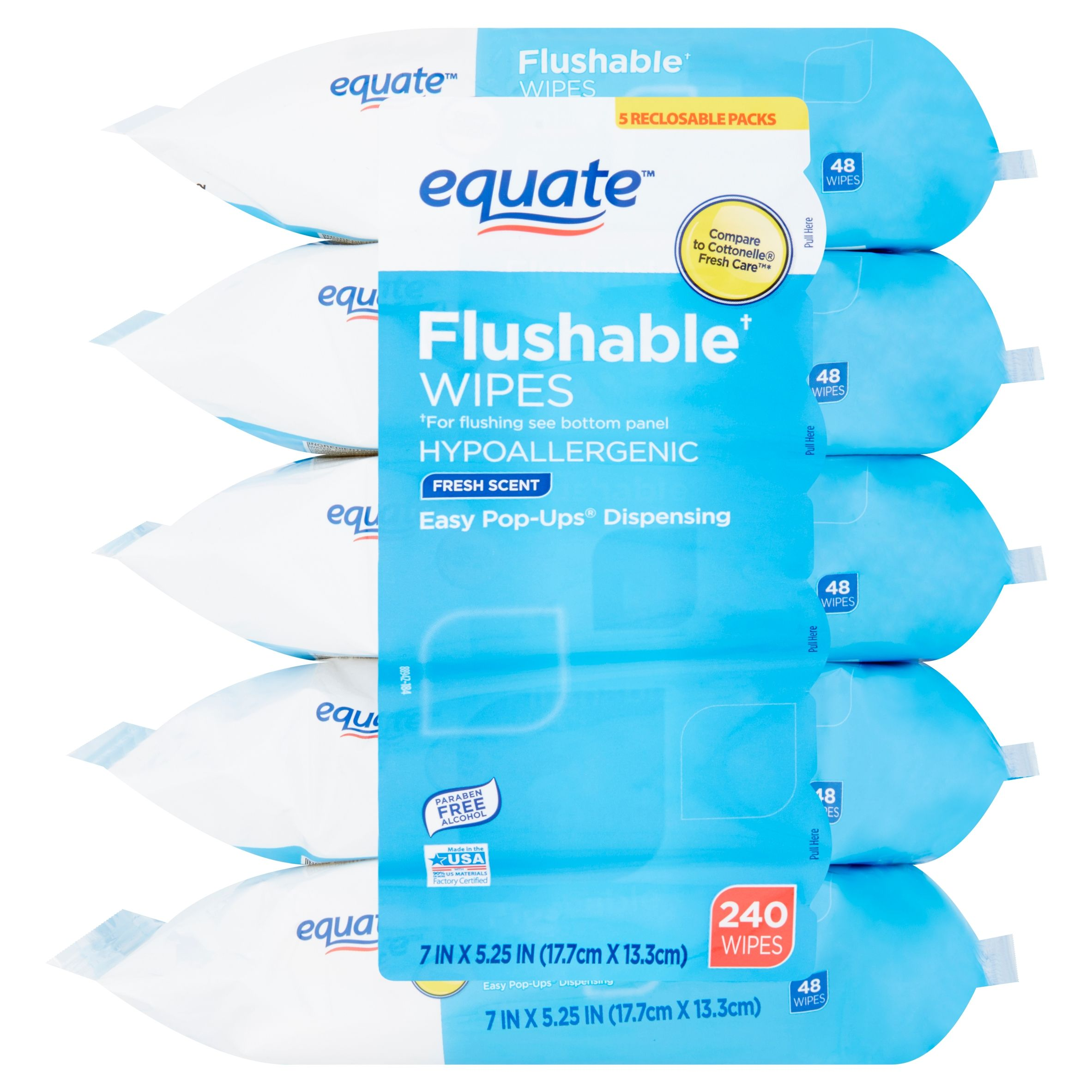 Equate Flushable Wipes, Fresh Scent, 5 packs of 48 wipes