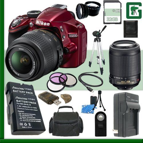 Buy Nikon D3200 CMOS DSLR Camera with 18-55mm VR Lens Green's Camera Bundle securely online today at a great price. Nikon D3200 CMOS DSLR Camera with 18-55mm VR Lens Green's Cam...