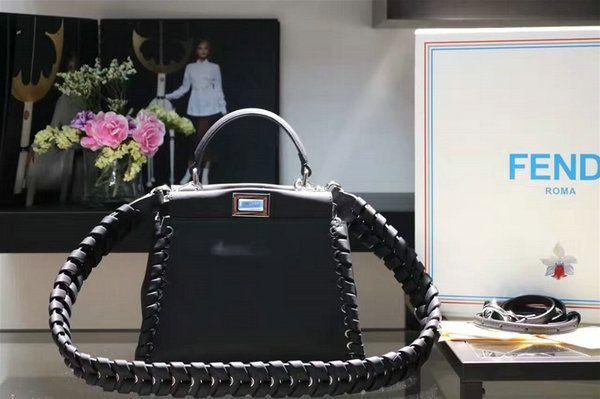 2016 A W Fendi Fashion Show Mini Peekaboo Weave Handbag in Black Nappa  Leather eb8fb65a8d