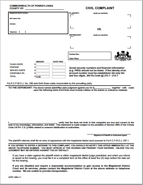 Legal Complaint Form Template At WorddoxOrg  Microsoft Templates
