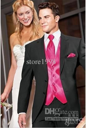 hot pink & black wedding tuxedos - Google Search | Weddings